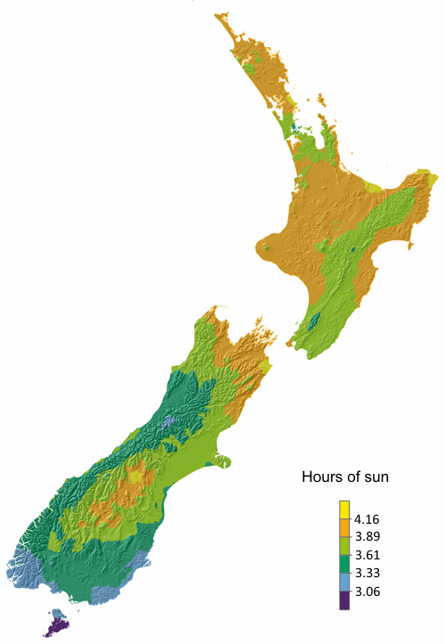 Map of sunshine hours/day annually